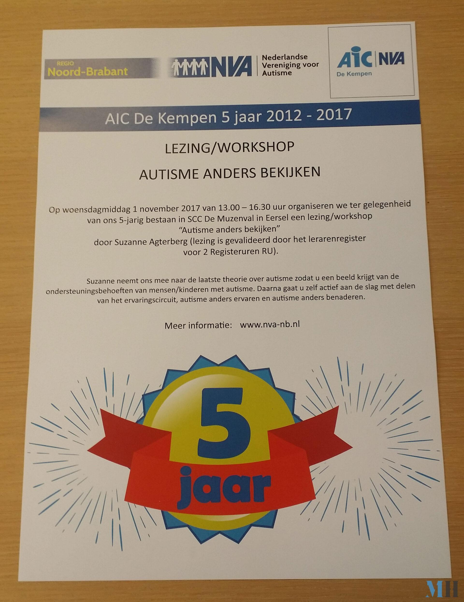 Poster 5 jarig bestaan AIC De Kempen