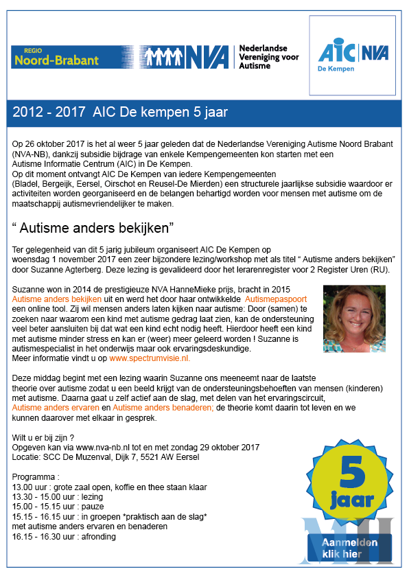 Flyer 5 jarig bestaan AIC De Kempen