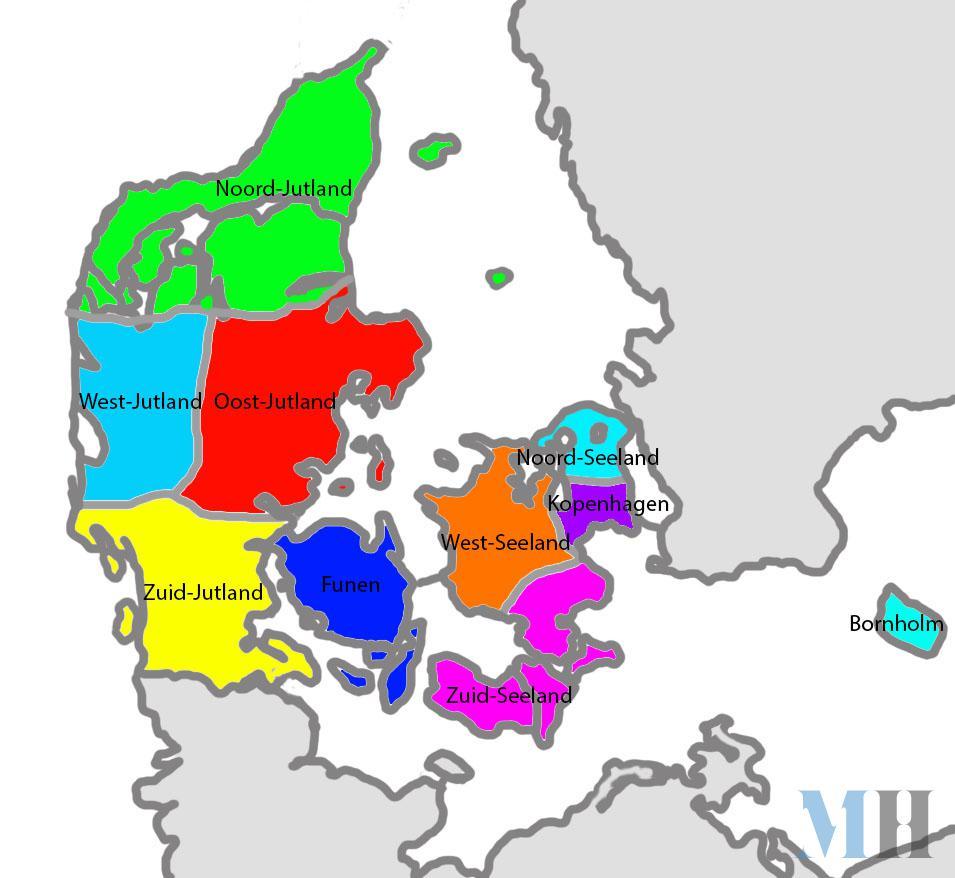 Kaartje regio's Denemarken