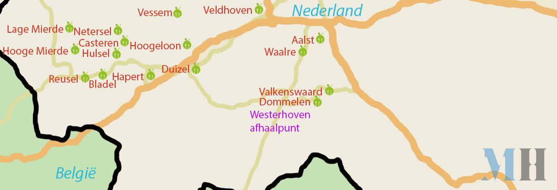 Kaartje bezorgplaatsen Stichting Maaltijdservice De Kempen