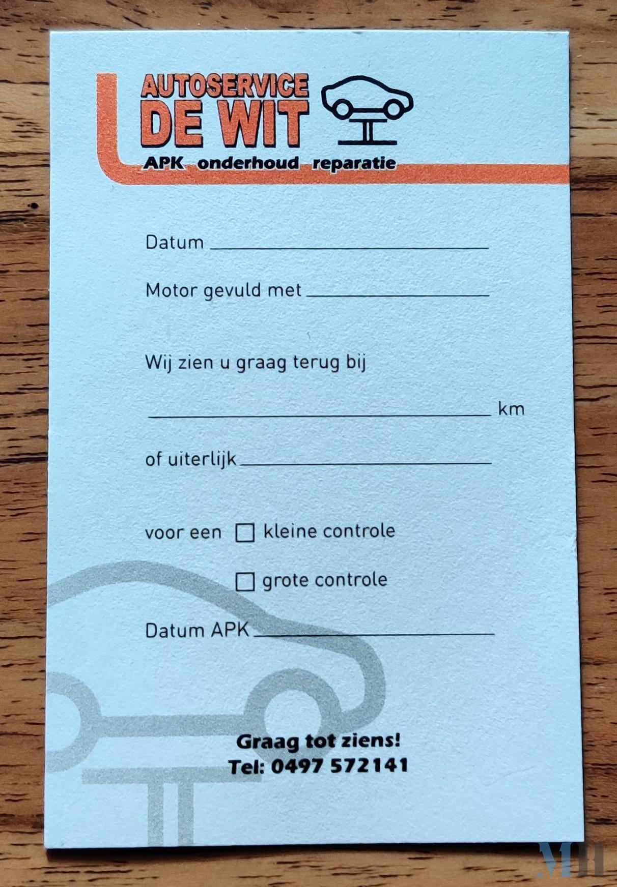 Afsprakenkaart Autoservice de Wit voorkant