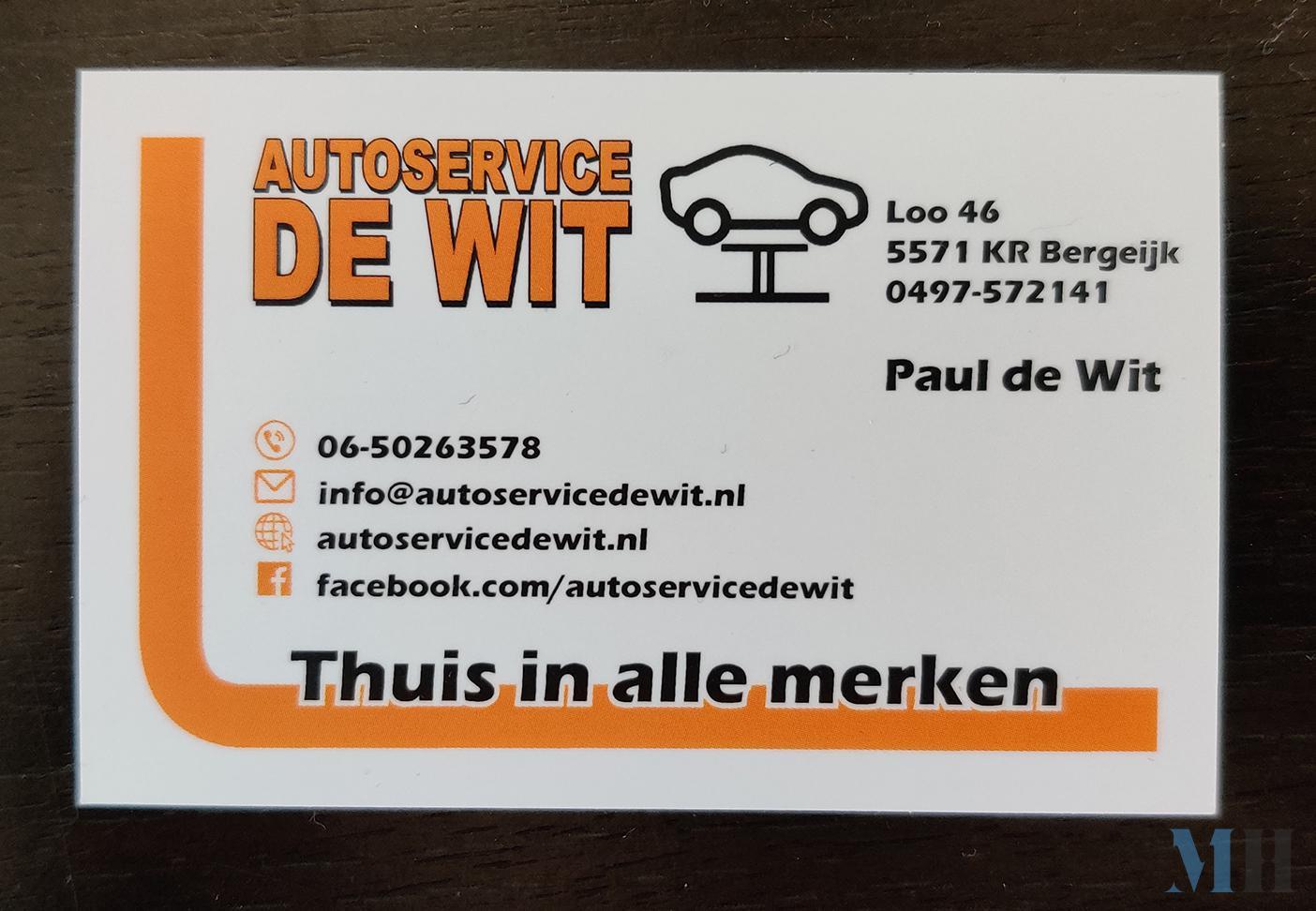 Visitekaartje Autoservice de Wit voorkant